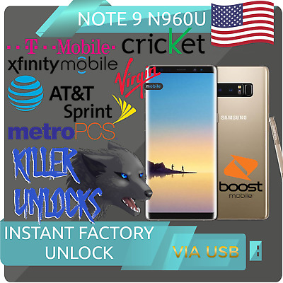 SAMSUNG GALAXY NOTE 9 SPRINT BOOST ATT T-MOBILE XFINITY Carrier Unlock  Service