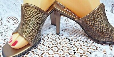 TIMOTHY HITSMAN MULES  OLD GOLD & BRONZE MESH UPPERS  w/LEATHER SOLES  UK SIZE 3