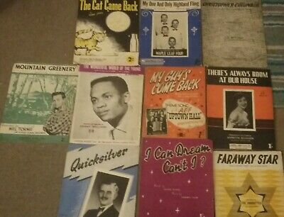 Vintage piano sheet music, popular songs from 1940s & 50s. 10 books.