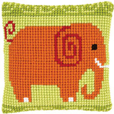Elephant Chunky Cross stitch cushion front kit 40x40cm Vervaco 4.5hpi canvas