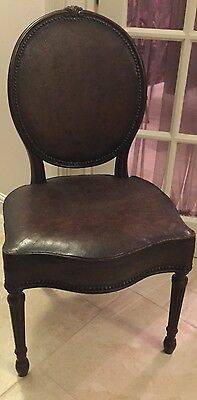 Antique Georgian Regency Chair - Mahogany And Leather Upholstered
