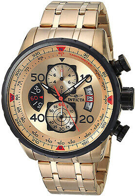 Invicta Mens 17205 AVIATOR 18k Gold Ion-Plated Watch