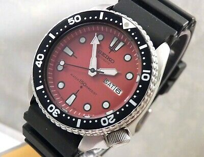 Seiko Moroccan Red Classic Submariner Automatic Day Date Diver Watch Custom 6309