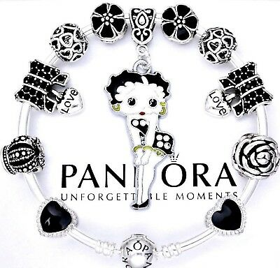 Authentic Pandora Silver Bangle Bracelet with Betty Boop Love European Charms