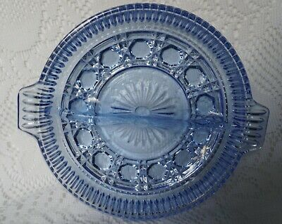 Vintage Ice Blue Indiana Windsor Round Handled Divided Relish Dish 8.5""