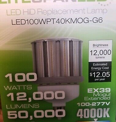 LED HID Replacement,100W,4K,12000lm LITESPAN LED100WPT40KMOG-G6