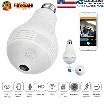 Mini Wireless 1080P SPY Hidden IP Camera 360° Panoramic WIFI Control  Light Bulb