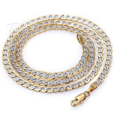 4mm Hammer Curb Cuban Mens Chain Womens Yellow/White Gold Filled Necklace 18-36""
