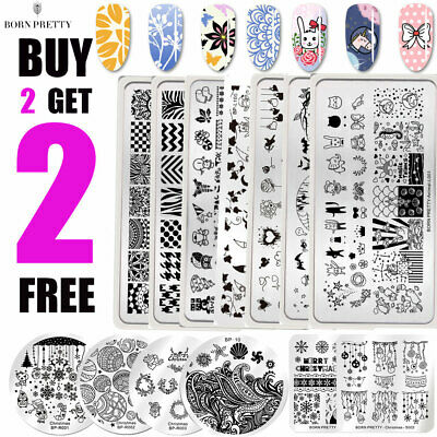 BORN PRETTY Nail Art Stamping Plates Plaque Ongle Pochoir Template Flower Leaf