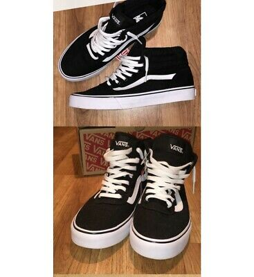 7775a3bb66 New Vans Men Shoes SK8 Hi Black White Canvas Suede Skateboard Sneaker