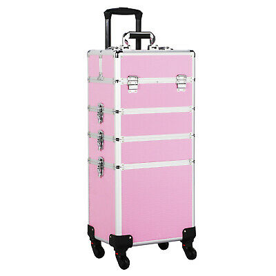 Aluminum Large Cosmetic Trolley Professional Rolling Case Makeup Artist Lockable
