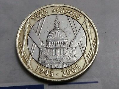 1945-2005 WW2 £2 Pound Coin Circulated St Paul's Cathedral 60th Anniversary UKC3