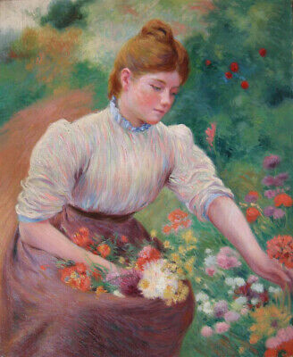 """high quality oil painting handpainted on canvas """"girl picking flowers"""""""