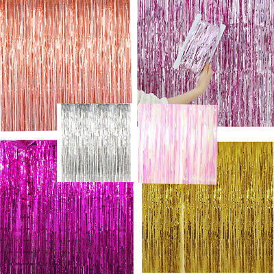 1 X 2 M Long Metallic Foil Fringe Tinsel Curtain Wedding Backdrop Birthday Party