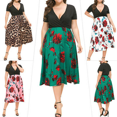 Women Plus Size Cocktail Dress V-Neck Casual Floral Swing Summer Holiday Dresses