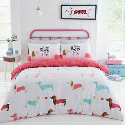 Sausage Dogs Double Duvet Cover Set - Pink, Polka Dots, 2 In 1 Design