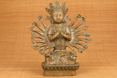antique chinese old bronze handmade Thousand-Hand Kwan-yin statue buddha deco