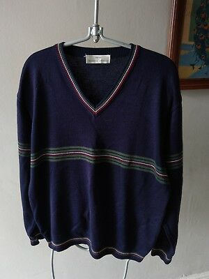 Vintage Retro St Michael M&S Mens Wool Mix Knit Wear Golf Style Jumper Top M