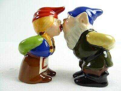 Fine Kissing Elves Gnome Figural Salt & Pepper Shakers magnets in Mouth