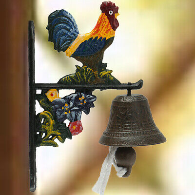 NZ Vintage Rustic Solid Metal Cast Iron Hanging Wall Mounted Rooster Door Bell