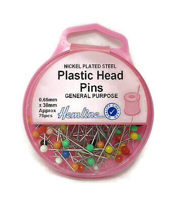 Hemline Colourful Plastic Head Pins 38mm x 0.65mm Sewing Pins General Purpose