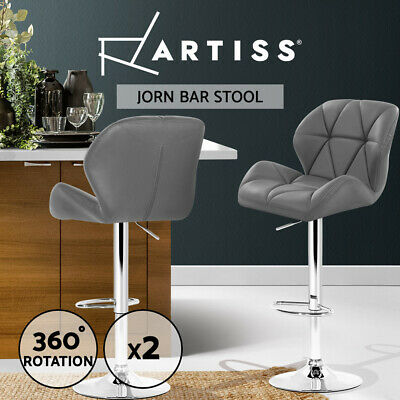 2xArtiss JORN Bar Stools Kitchen Swivel Bar Stool Leather Gas Lift Chairs Grey