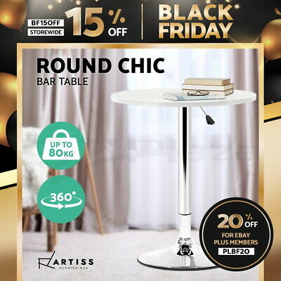 【20%OFF】Bar Table Gas Lift Adjustable Kitchen Cafe Banquet Tables b Metal White