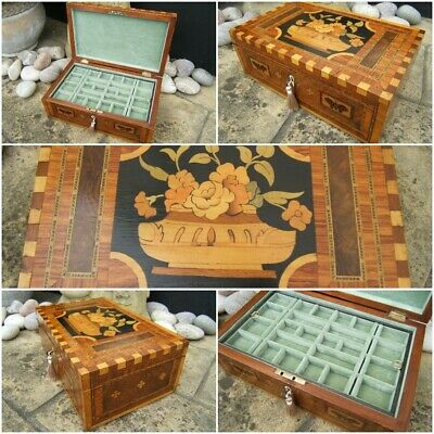 Wonderful Early 19C Rare Victorian Inlaid Antique Jewellery Box - Fab Interior