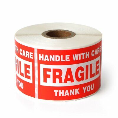 """Fragile - 2""""x3"""" Handle with Care Shipping Stickers 500 Labels Per Roll"""