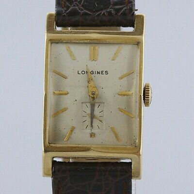 Vintage (1950) Longines 14ct Yellow Gold Rectangular Manual Gents Watch