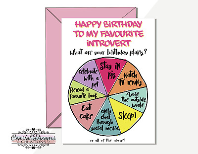 Introvert funny happy birthday plans card - my favourite best friend stay in pjs