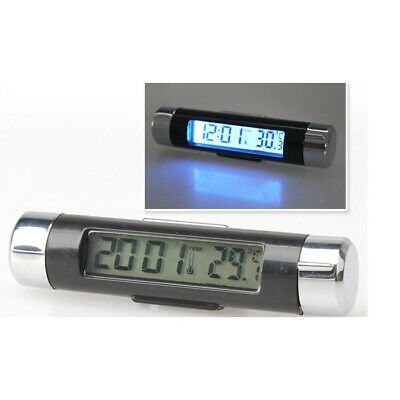 2In1!! thermometer clock car LCD blue background temperature meter multifunction