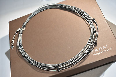 SILPADA N2146  Sterling Silver Hematite Glass Leather Cord Necklace -RET