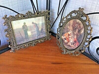 Vtg pair brass hanging ornate Photo picture frame oval made in Italy