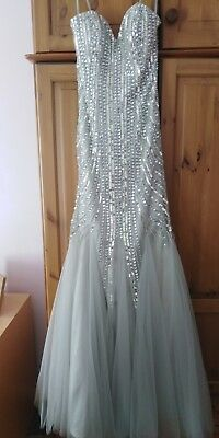 PROM DRESS - sequin/beaded detail - Sleeveless Mermaid - silver/grey -see photos
