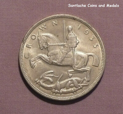 1935 KING GEORGE V SILVER 'ROCKING HORSE' CROWN - near UNC