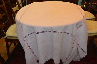 """Vintage Linen Tableclo Pink Lace on borders 108 X 72"""" Matching Napkins"""