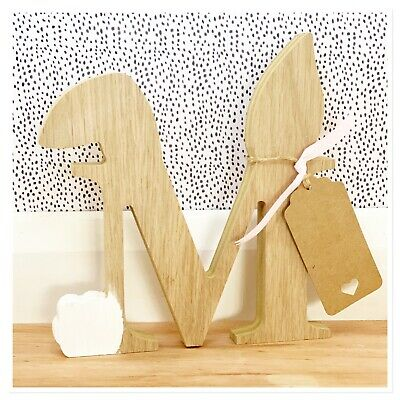 Personalised Oak Wooden Initial Letter Free Standing Baby Girl Boy Gift Nursery