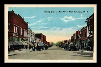 Dr Jim Stamps Us Postcard Main Street Looking East West Frankfort Illinois