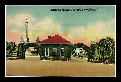 Dr Jim Stamps Us Gateway Metarie Cemetery New Orleans Linen Postcard