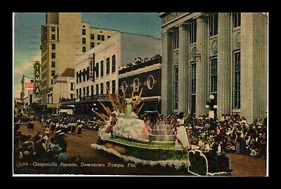 Dr Jim Stamps Us Gasparilla Parade Downtown Tampa Florida Linen Postcard