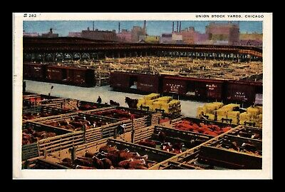 Dr Jim Stamps Us White Border Postcard Union Stock Yards Chicago Illinois