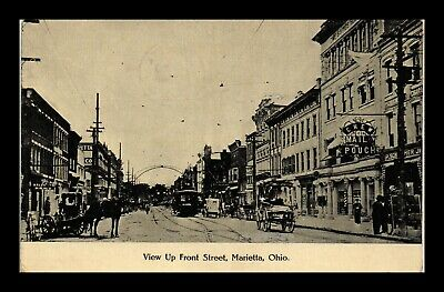 Dr Jim Stamps Us Postcard Marietta Ohio Front Street View Horse Carriages