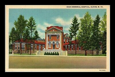 Dr Jim Stamps Us Davis Memorial Hospital Elkins West Virginia Linen Postcard