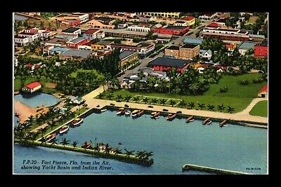 Dr Jim Stamps Us Linen Postcard Aerial View Fort Pierce Florida Yacht Basin