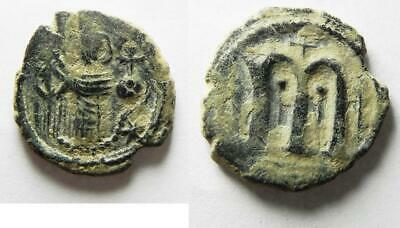 ZURQIEH -aS11495- ISLAMIC. Umayyad Caliphate. Arab-Byzantine AE fals (21mm, 4.65