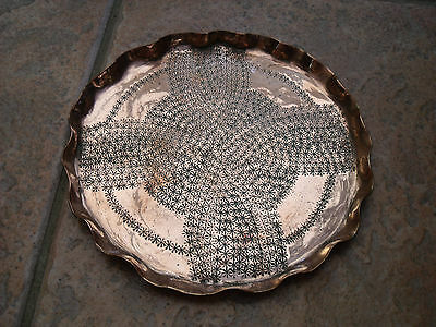 Arts & Crafts Copper Salver or Tray with Etched Star/Flower pattern 7.75""