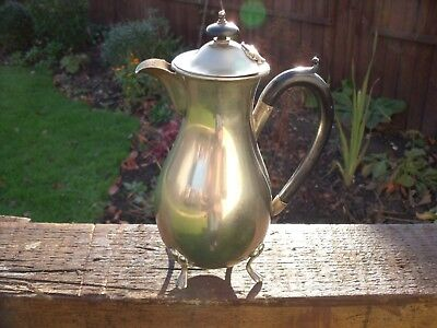Art Deco Silver Plated Hot Water Jug  Bakelite handle & finial & four claw feet.