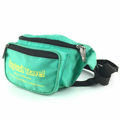 Vtg 80s 90s Teal Green 3 Zip Pockets Waist Hip Bag Clip Party Costume Fanny Pack