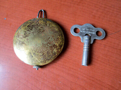 "Antique / Vintage Banjo, Ogee Brass Covered Pendulum  With Key 2""  (415A)"